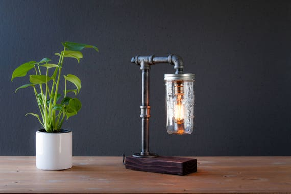 Farm House Mason Jar lamp Lighting - Steampunk Lamp - Table Lamp - Edison Light - Vintage Light - Pipe Lamp - Bedside Lamp - Rustic lamp