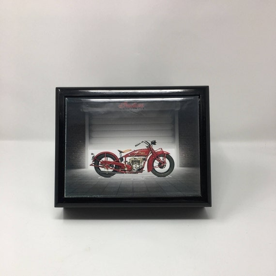 Memory box, Treat box, Wood Keepsake Box, Men's jewelry box,  Wood Memory Box, Keepsake Box, Indian Motorcycle, Retirement Gift