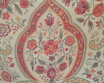 Lovely antique 1880s indienne paisley style floral textile fabric ~ projects