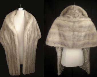 AZURENE White Cream MINK Fur STOLE Cape Wrap Shawl Coat Jacket ~ Winter Wedding ~ Gray Silver Cerulean ~ Luxury Bridal ~ Extra long