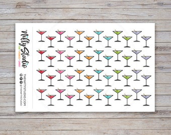 Martini Glass Stickers | Girl's Night Out Stickers | Planner Stickers | The Nifty Studio [179]