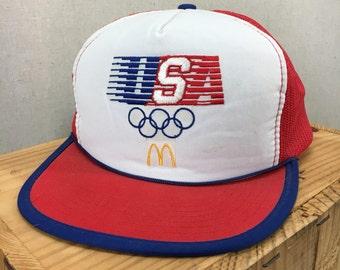 Vintage 80's McDonald's USA Olympics Trucker Style Snapback Hat