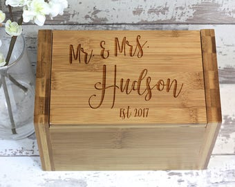 Personalized Wood Recipe Box, Engraved Recipe Box, Custom Wood Recipe Box For Wedding, Wedding Gift, Bridal Shower