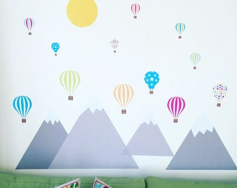 Delightful Mountain And Air Balloon Wall Stickers, Large Mountain And Hot Air Balloon  Wall Decals,