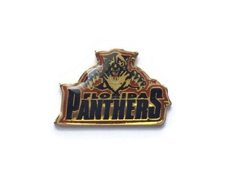 Vintage PANTHERS Pin + Backs! Tiny Pin! NHL National Hockey League Pin! Brass Glossy Domed Enamel Rare Vintage Retro Jersey Great Gift