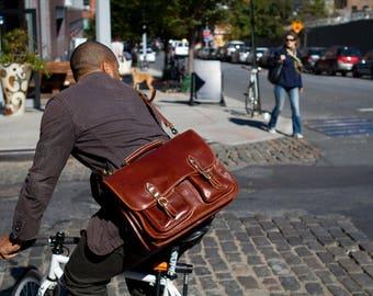 Leather Messenger Bag, Brown Leather Messenger, Mens Leather Briefcase, Laptop Bag, Leather bag, Mens Briefcase (4015BROWN)