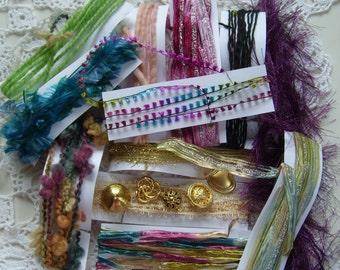 "21.5 YDS. ""Gypsy Parlor"" fiber art yarn bundle/mixed trim bundle/embellishment trim/yarn destash/mixed media DIY/junk journal/fiber collage"