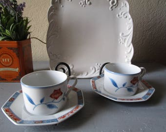 "Fitz and Floyd ""Jardin de Chine"" 2 Cups and Saucers"