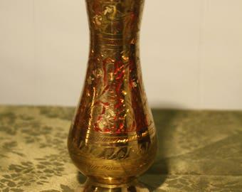 Etched Brass Vase