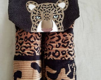 Adult Hooded Beach Towel,Embroidered Beach Towel,Leopard Embroidered Towel,Leopard Beach Towel,Embroidered Beach Towel,Ready To Ship