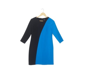 Blue and Black Colorblock Dress