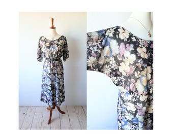 Vintage Sheer Floral Dress/ Boho Dress/ Sheer Midi Dress/ Bohemian Dress/ Hippie Dress/ Tea Dress/ Secretary Dress/ 70s Style/ Cute! Sz S M