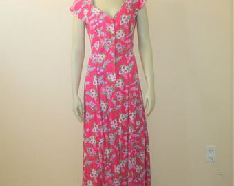 1990s Floral Midi Dress w/Criss Cross Back 6