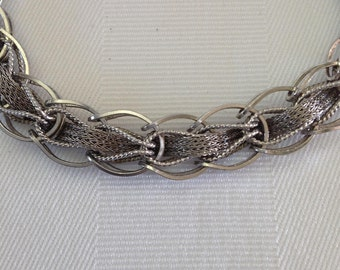 Vintage Sterling Silver Bracelet with Safety Chain marked GAJ Charm Bracelet