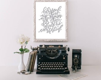 Blessed Are Those Who Mourn Matthew 5:4 8.5x11 Handlettered Art Print