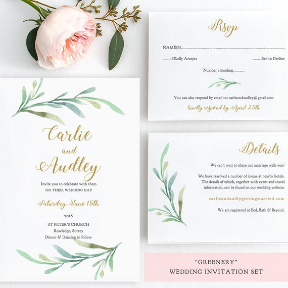 Greenery Wedding Invitation Set Templates, Printable Wedding Invitations,  Rsvp And Details Cards   Greenery   Edit In WORD Or PAGES