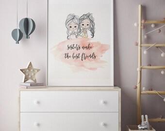 sister gift, sister playroom decor, sister room decor, sisters make the best friends, sibling wall art, twin girl wall art