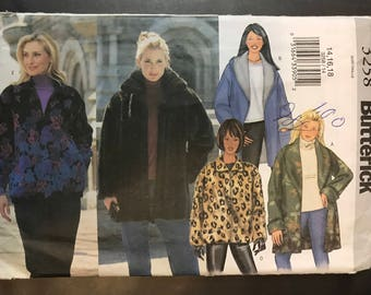 Butterick 3258 - Loose Fitting Jacket with Zipper Front and Shawl or Pointed Collar - Size 14 16 18