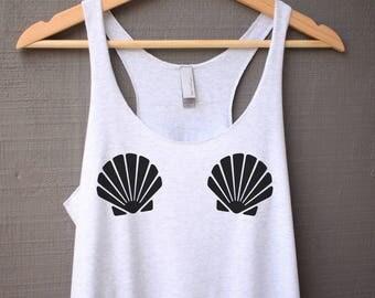 Mermaid Seashell Tank Top - Seashell Bra Shirt - Mermaid Tank Top - Mermaid Shirt - Seashell Bra Tank