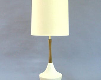 Mid Century Modern Wood And Ceramic Lamp, Orange Peel Ceramic, White And  Teak,