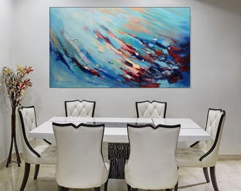 Modern Art, Large Wall Art Abstract Blue Acrylic Painting On Canvas, Colorful Living Room Painting Blue Artwork, Gift For Her, Christovart