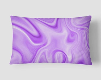 purple lumbar pillow purple white cushion modern long cushion 14x20 cushion cover