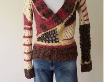 Diesel sweater, S, M, patchwork sweater, mohair sweater, wool sweater, beige sweater, cropped sweater, designer sweater, maroon sweater