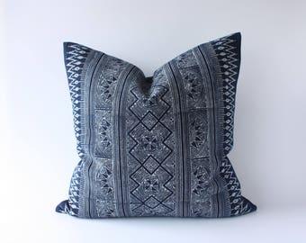 """20"""" x 20"""" Boho Hmong Hill Tribe Indigo Batik Cotton Pillow Cover /17101"""