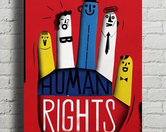 HUMAN RIGHTS. Fine quality print of original artwork. Hand signed.