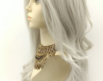 Long 27 inch Lace Front White Gray Wavy Wig with Premium Heat Resistant Fiber. Lace Line Wig. [33-187-Kimber-60]
