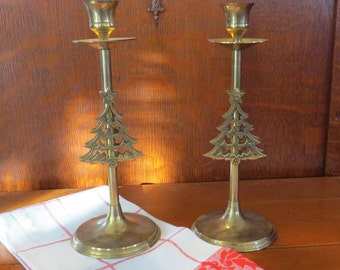 Set of 2 Brass Christmass Tree Holiday Taper Candlestick Candle Holders