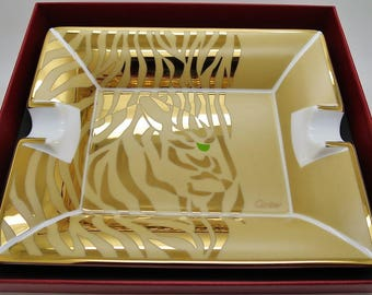 CARTIER CIGAR ASHTRAY ~ French Porcelain with 24kt Gold