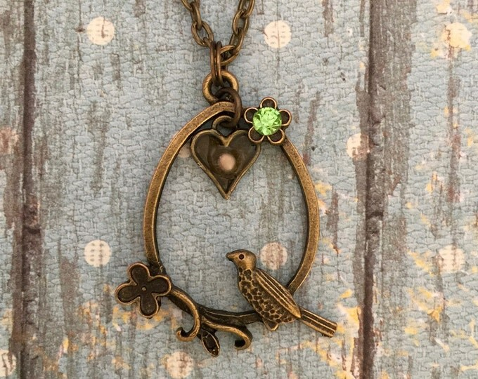 Mustard Seed Jewelry, Faith Jewelry, Mustard Seed Necklace, Christian Gifts, bird necklace, antique bronze necklace, Matthew 17:20, Heart