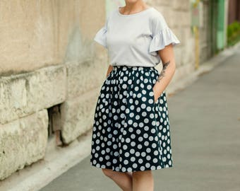 Polka Dot Cotton Skirt, High Waist Gathered SKirt, Black and Grey Short Skirt, Skirt with Pockets, Short Printed Gathered Skirt