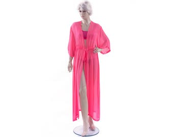Chiffon sheer kimono Kaftan dress in neon pink with short sleeve ,sheer woman robe ,elegant beach cover up,women's beach kaftan dress