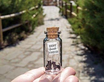Life is better with friends. Best Friend Forever. BFF. I love you. Cat and Dog. Message in a bottle. Personalised Gift. Valentine Card