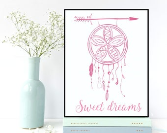 Nursery wall art, Dreamcatcher poster, Kids room decor, Children poster, Nursery quote, Nursery decor, Bedroom decor, Illustration print