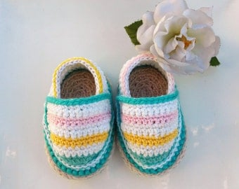 Crochet baby shoes- Baby multicolored Espadrilles- Crochet espadrilles - Baby shower- Baby slippers- Unique baby gift