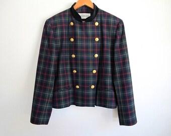 80s Cropped Blazer, Vintage Plaid Blazer, 1980s Size Large, Short Wool Coat