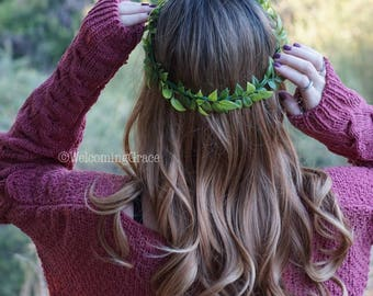 Greenery crown, flower crown wedding, bridesmaid greenery crown, flower headband, bridal flower crown