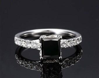 Princess Cut Black Diamond Engagement Ring 14k White Gold or Yellow Gold Black Diamond Ring Art Deco Anniversary Ring
