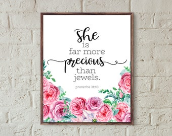girls room decor print she is far more precious than jewels printable wall art nursery decor girl floral baby girl nursery prints coral pink