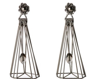 Caged Gems Earrings featuring Cubist Swarovski Crystal setting Long Earrings