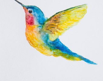 Hummingbird Watercolor Fine Art Print // illustration // wall art // home decor // animal drawing // abstract // watercolor painting