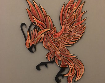 Phoenix Bird - Quilling Wall Art - Painting with 1/8' (3mm) paper strips