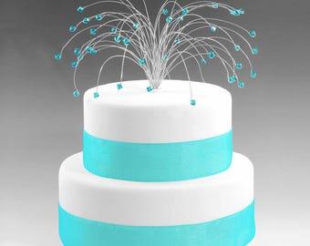 Wedding Cake Topper Silver Blue Zircon Turquoise Swarovski Crystal Elements Fireworks Spray Birthday December Birthstone Decor Decoration