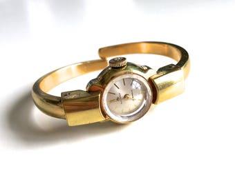 Vintage Retro Bucherer 17 Jewels Mechanical Wind Up Gold Expandable Bangle Wrist Watch Bracelet