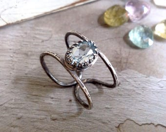 Blue Topaz Ring - Oxidized Sterling Silver Ring - Double Shank Ring - Open Ring - Solitaire Ring - Simple Modern Ring - December Ring