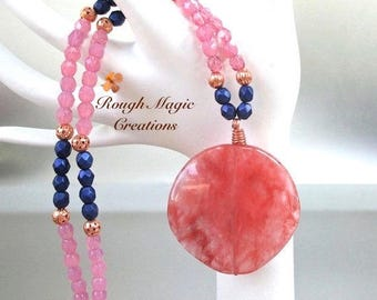 Cherry Quartz Large Pendant, Boho Chic Necklace, Gift for Women, Pink Indigo Blue Copper Beaded Strand N291
