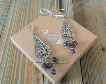 Amethyst Gemstone Earrings Silver Filigree Chandelier Style  ~ Long Boho Inspired Dangle Statement Jewelry  ~ Gifts for Ladies Bridesmaids